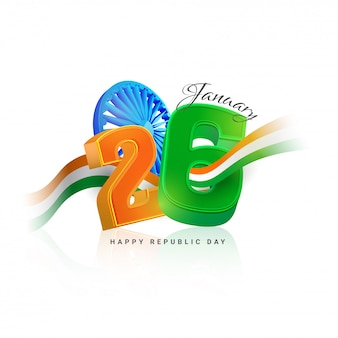 3d text 26 january with ashok wheel