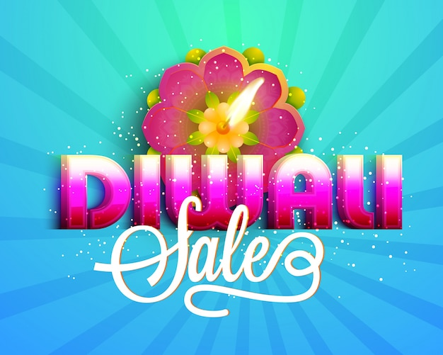 3d text diwali sale banner with creative oli lamp.