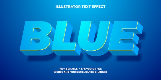 3d text effect bold blue