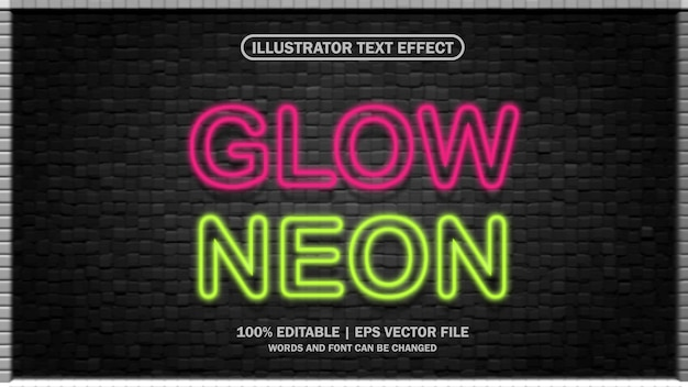3d text effect eps glow neon editable