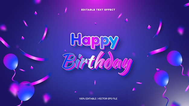 3d text effect happy birthday with elegant design