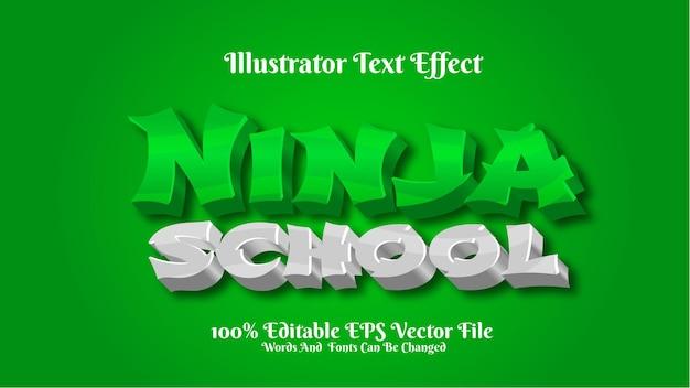3d 텍스트 효과 닌자 학교 일러스트 레이터 프리미엄