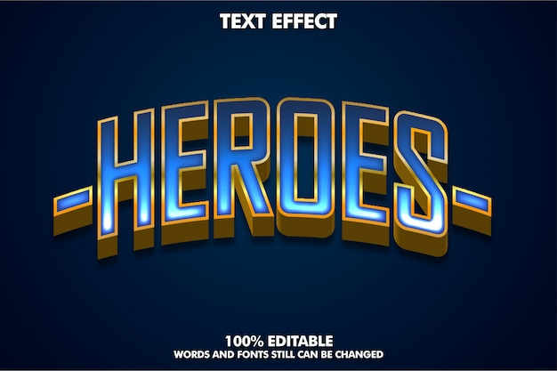 3d text effect for super hero banner or sticker