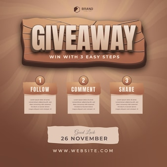 3d text effect with giveaway steps for social media post with 3 steps to win