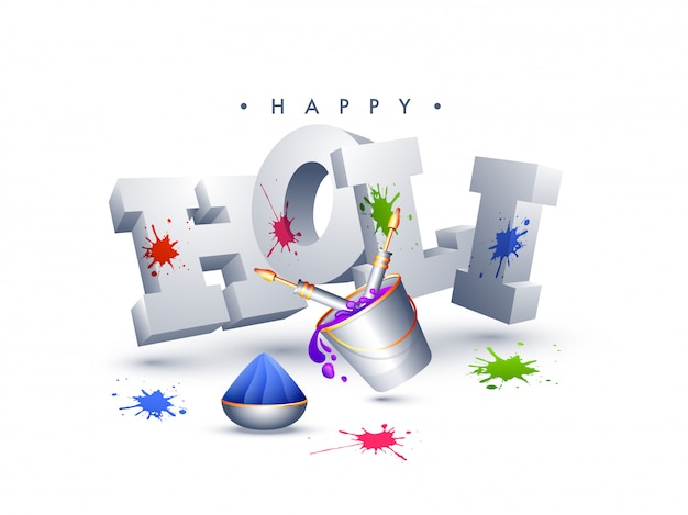 3d text holi with bucket and color guns illustration on white ba