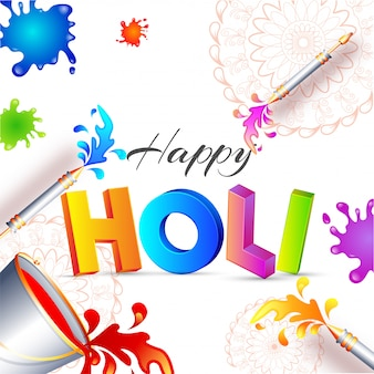 3d text holi with buckets and color guns on color splash backgro