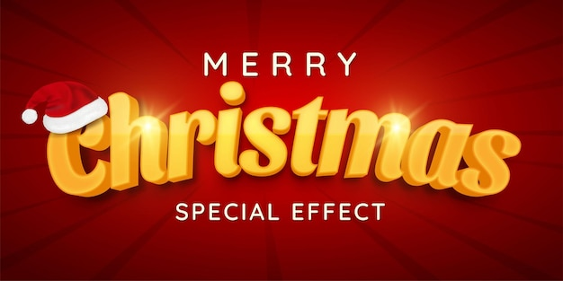 3d text merry christmas editable style effect template