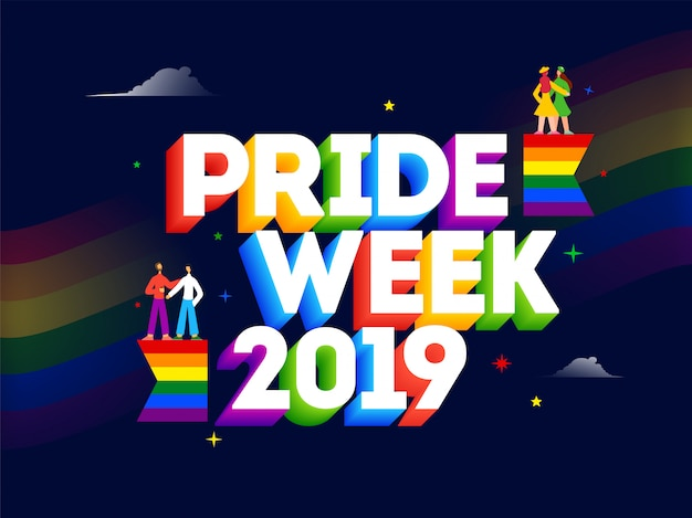 3d text of pride week 2019 with gay and lesbian couples