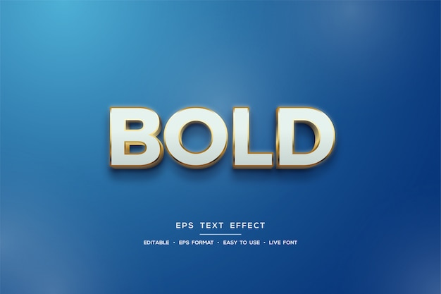 3d text style effect in white and gold on blue