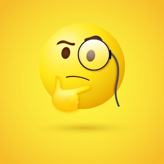 3d thinking emoji face with monocle or 3d emoticon  looking upwards with magnifying glass