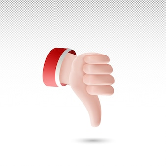 3d thumb down dislike sign cartoon style on white tranparent background free vector