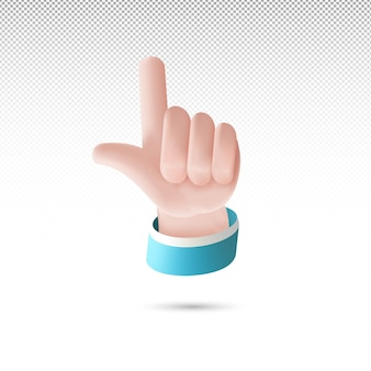 3d thumb shooting on white tranparent background free vector