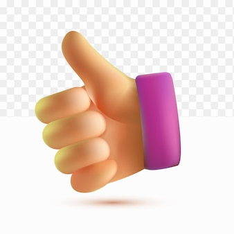 3d thumb up cartoon style on white tranparent background