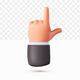 3d thumb up shooting hand cartoon style on white tranparent background