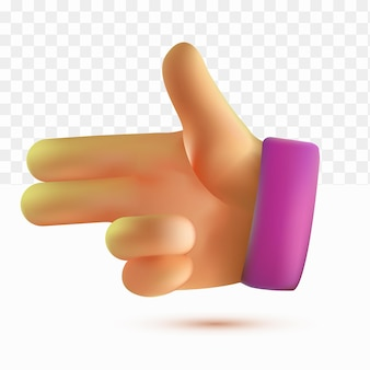 3d thumb up shooting hand two finger cartoon style on white tranparent background