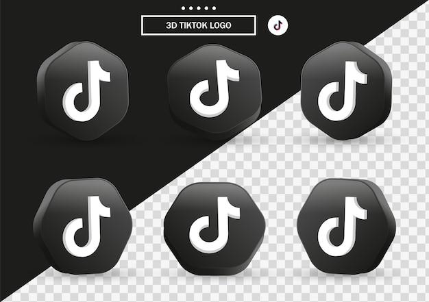 소셜 미디어 아이콘 로고를 위한 현대적인 스타일 프레임과 검은색 다각형의 3d 틱톡 아이콘