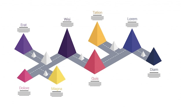 3d timeline infographics layout with eight (8) steps.