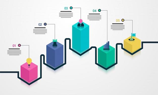 3dタイムラインinfographicsレイアウトは5つのステップで構成されています。