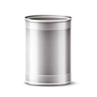 3d tin can, silver container for product