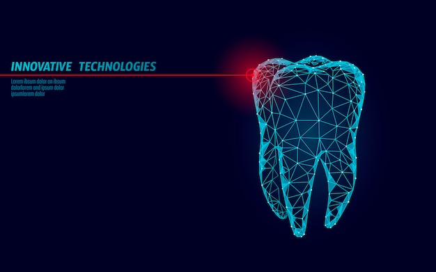 3d tooth innovation laser dentistry polygonal concept. stomatology symbol low poly triangle abstract oral dental medical care business. connected dot particle modern render blue vector illustration