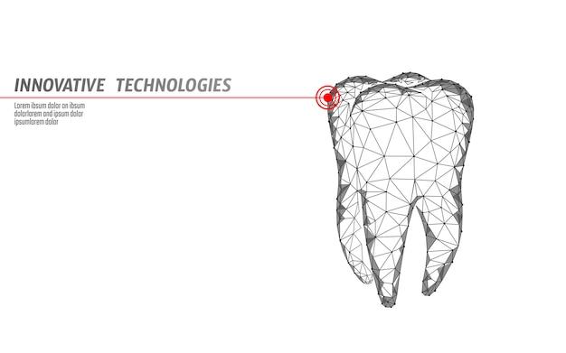 3 d歯イノベーションレーザー歯科多角形の概念。口腔病学シンボル低ポリ三角形抽象的な口腔歯科医療事業。接続されているドット粒子モダンなレンダリング白いベクトルイラスト