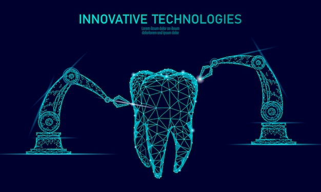 3d tooth innovation robot arm polygonal concept.