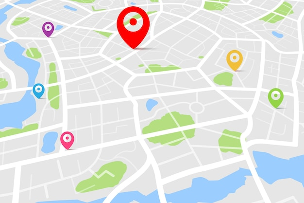 目的地の場所ポイントを含む地図の3d上面図、通りと川を含む日中の都市地図の空中クリーン上面図、空白の都市地図、gpsマップナビゲーターの概念