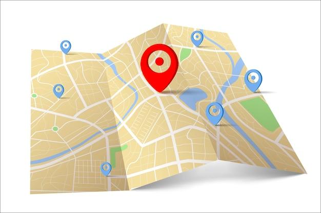 目的地の場所ポイントを含む地図の3d上面図、通りと川を含む日中の都市地図の空中クリーン上面図、空白の都市地図