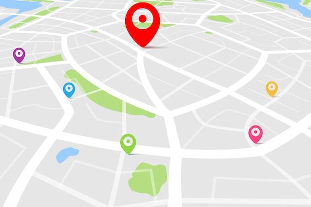 目的地の場所を含む地図の3d上面図 Premiumベクター