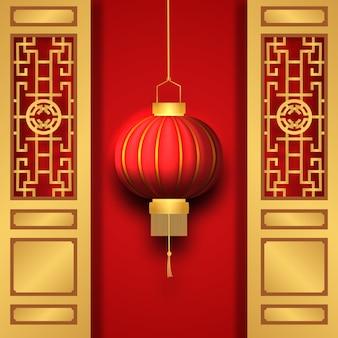 中国の旧正月のグリーティングカードの概念図のドアゲートと3d伝統的な赤い提灯