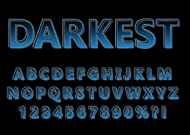 3d透明光アルファベット番号セット