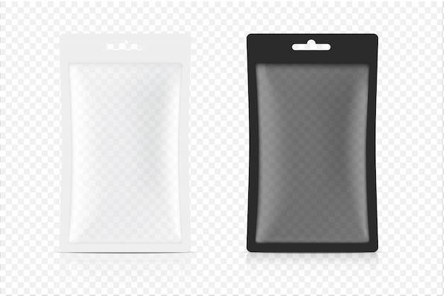 3 dの透明なサシェバッグは、白い背景で隔離。図。食品、飲料、ヘルスケアおよび医療商品のパッケージングのコンセプトデザイン。