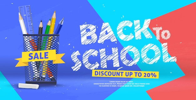 3d trendy colorful back to school sale banner illustration