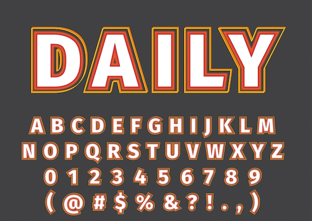 3d trendy modern alphabets numbers set