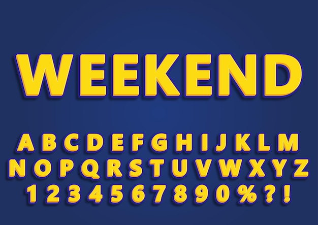 3d trendy weekend alphabets numbers set