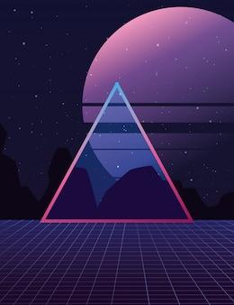 3d triangle landscape moon dark