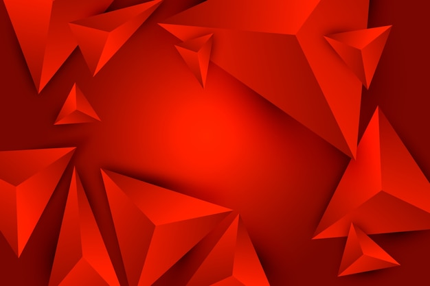 3d triangle red background with poly effect