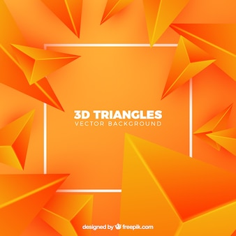 3d triangles background in orange color