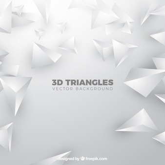 3d triangles background in white color
