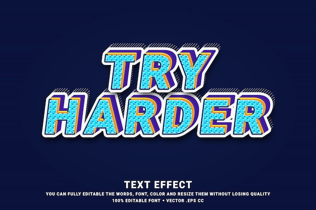 3d try harder - text effect