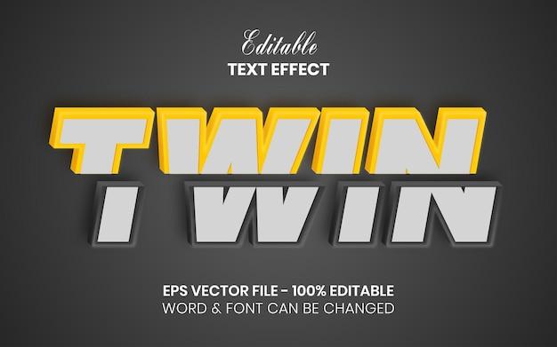 3d 트윈 텍스트 효과 슬라이스 스타일 편집 가능한 텍스트 효과