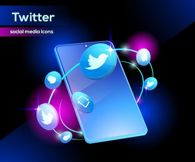 스마트 폰으로 정교한 3d 트위터 아이콘
