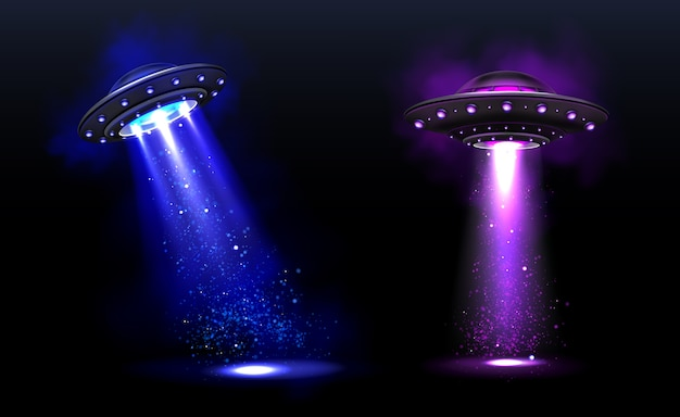 3d ufo, vector alien space ships with blue and purple light beams with sparkles. saucers with illumination and bright ray for human abduction, unidentified flying objects realistic vector illustration