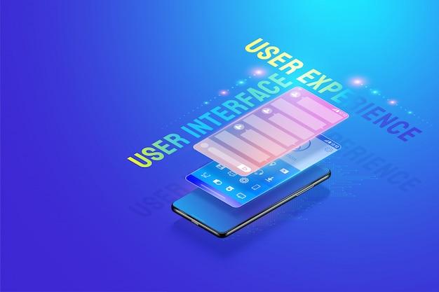 3dアイソメトリックモバイルアプリui uxデザインイラスト、ユーザーインターフェイス、ユーザーエクスペリエンス、およびアプリケーション開発の概念ベクトルの作成とデザイン。