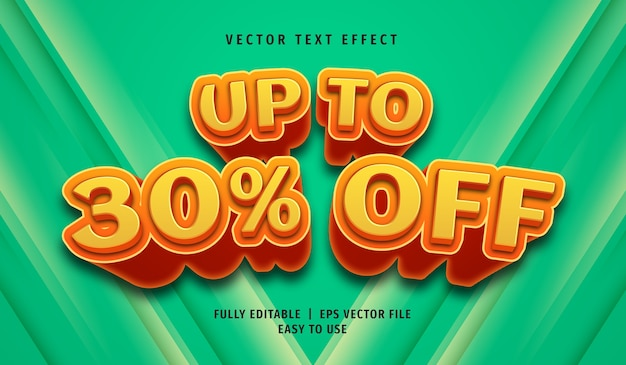 3d up to 30% off text effect, editable text style Premium Vector