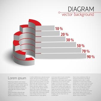 Modello di diagramma di usiness 3d con grafico realistico con grafico a barre e percentuali