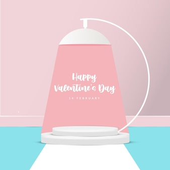 3d valentine lamp podium scene for product display or placement