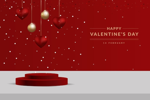 3d valentine podium scene for product display or placement