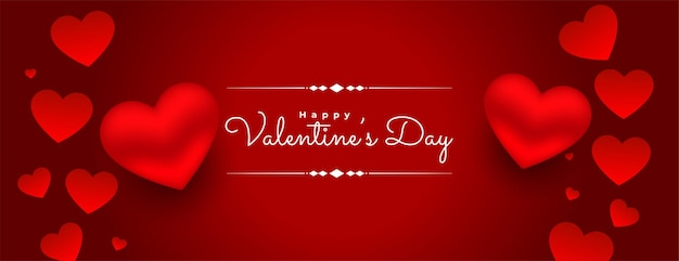 3d valentines day red hearts background