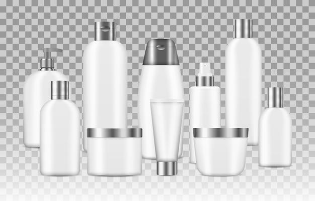 瓶、ポンプボトル、透明な背景に分離されたクリームチューブを含む3 dのさまざまな空のコンテナーのモックアップ。現実的な化粧品の白いきれいなボトルのセット。リアルなコスメティックパッケージ。